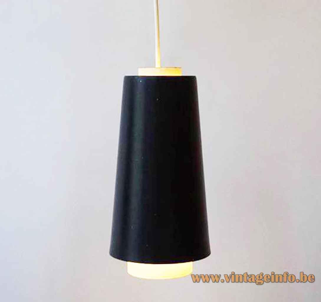 Raak B-1011 pendant lamp conical black & white metal lampshade 1960s E27 socket The Netherlands