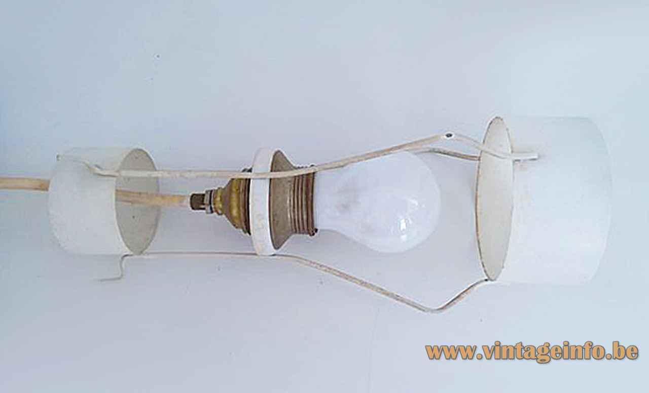 Raak B-1011 pendant lamp conical black & white metal lampshade 1960s E27 socket The Netherlands inside