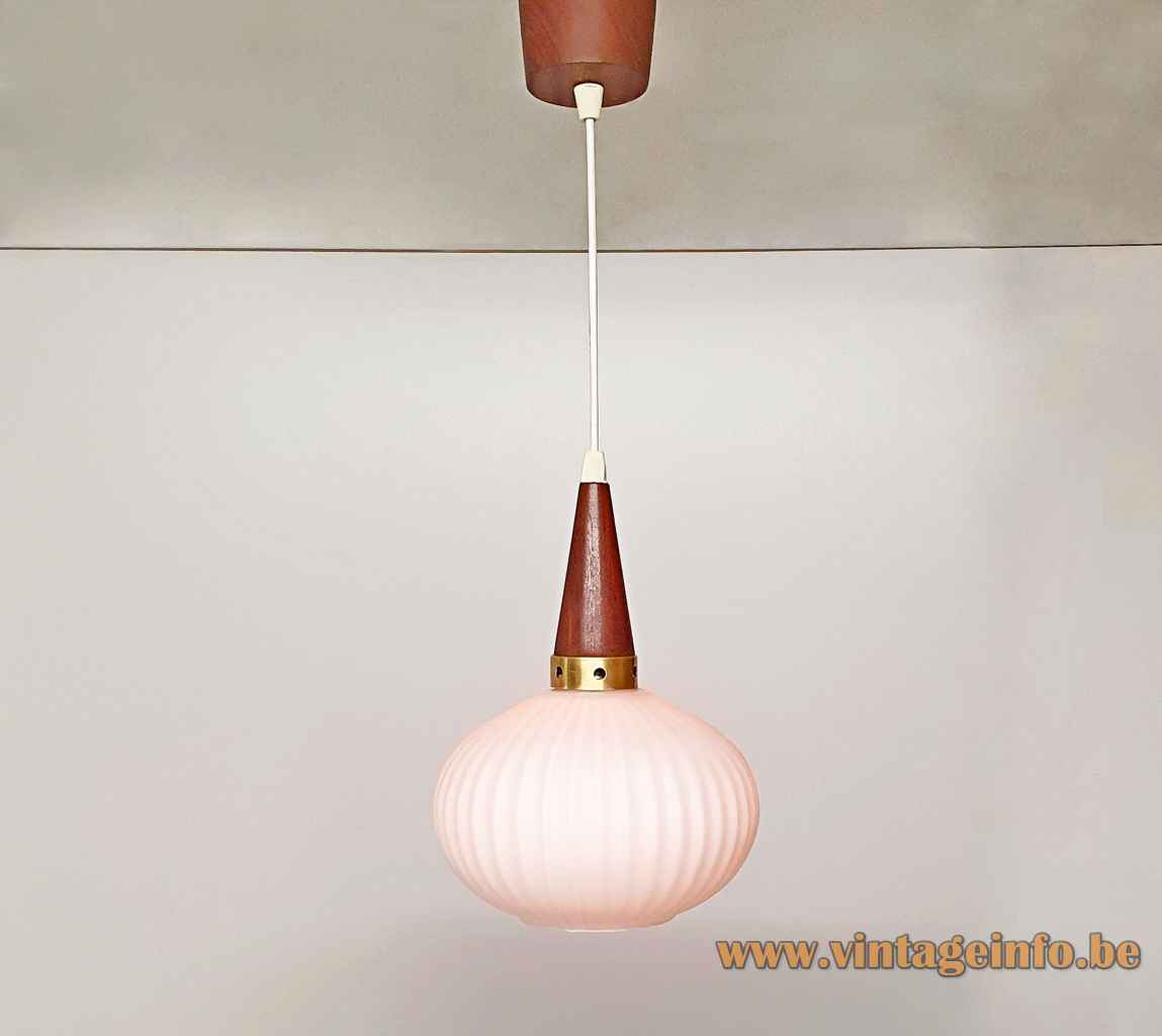 Ribbed opal glass pendant lamp onion oval lampshade conical wood top brass ring 1960s Massive Belgium