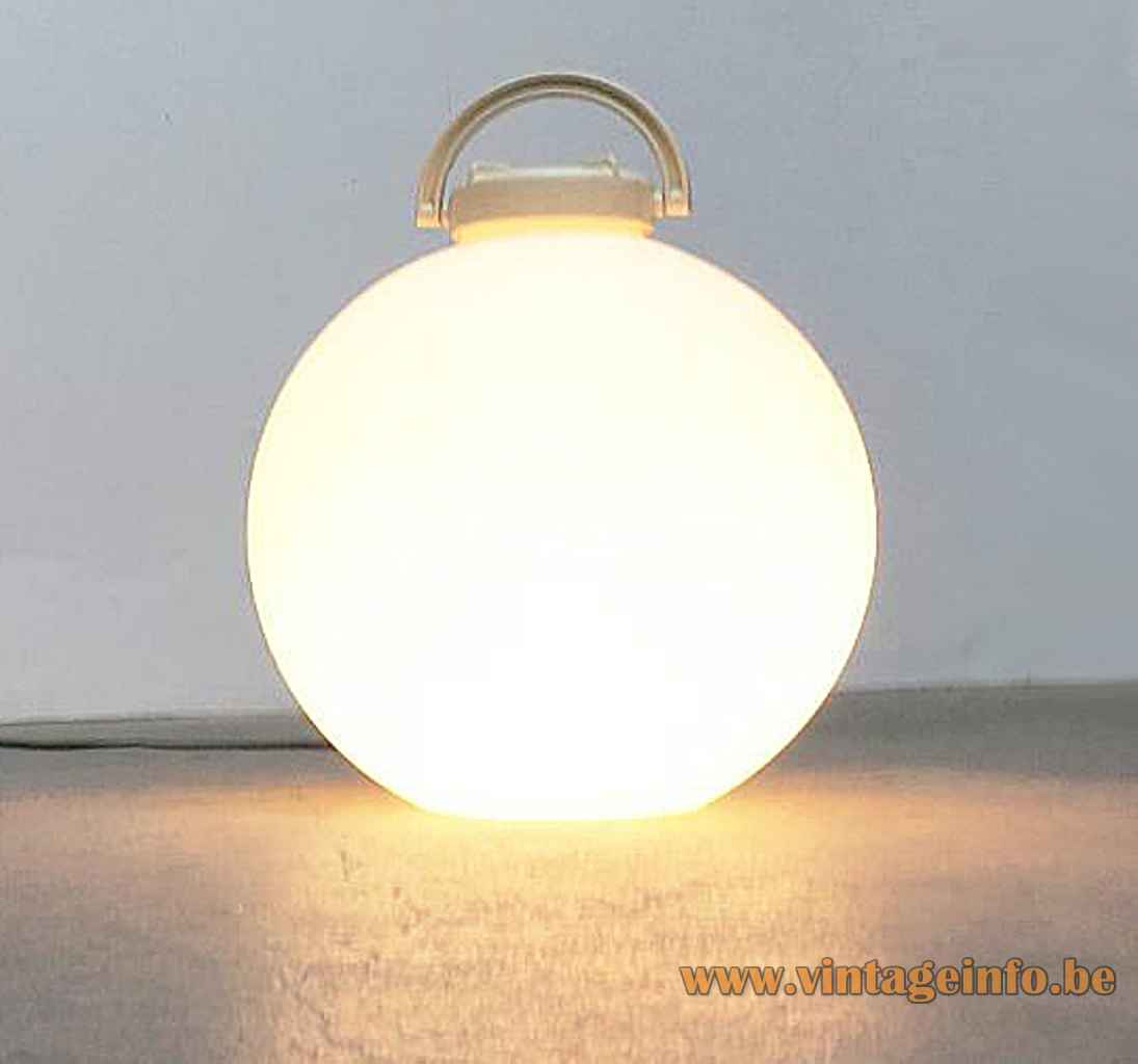 Valenti Tama floor lamp white plastic globe lampshade & handle design: Isao Hosoe 1970s 1980s Italy