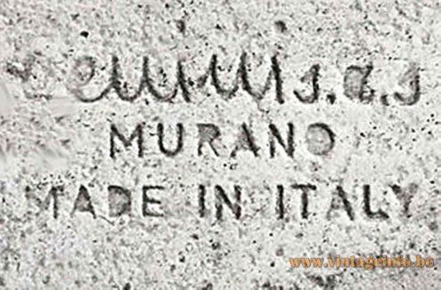 Venini Murano Stamp In Metal Frame