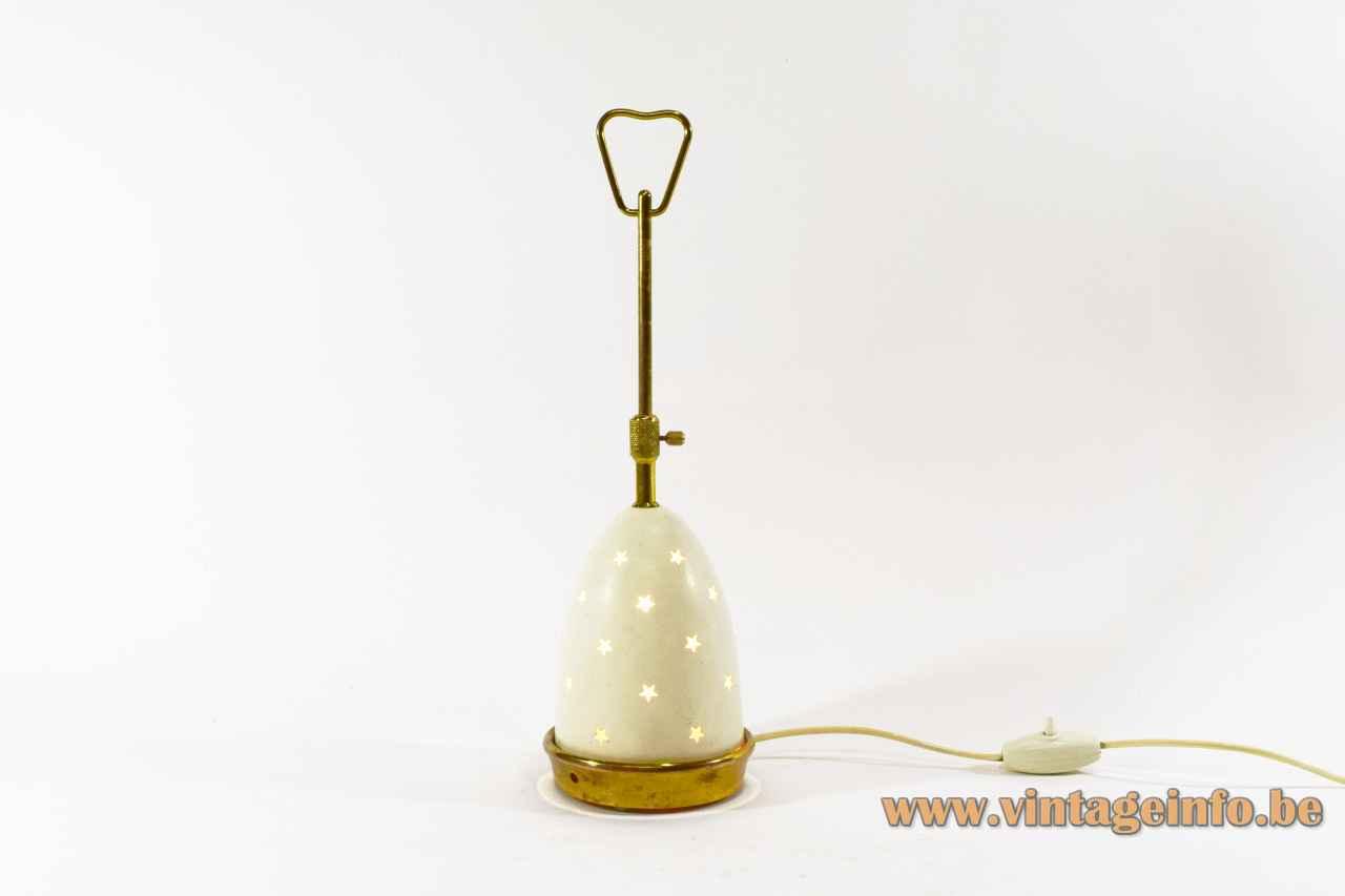 Arredoluce Stellina table lamp round brass base adjustable conical stars lampshade 1950s design: Angelo Lelii Italy