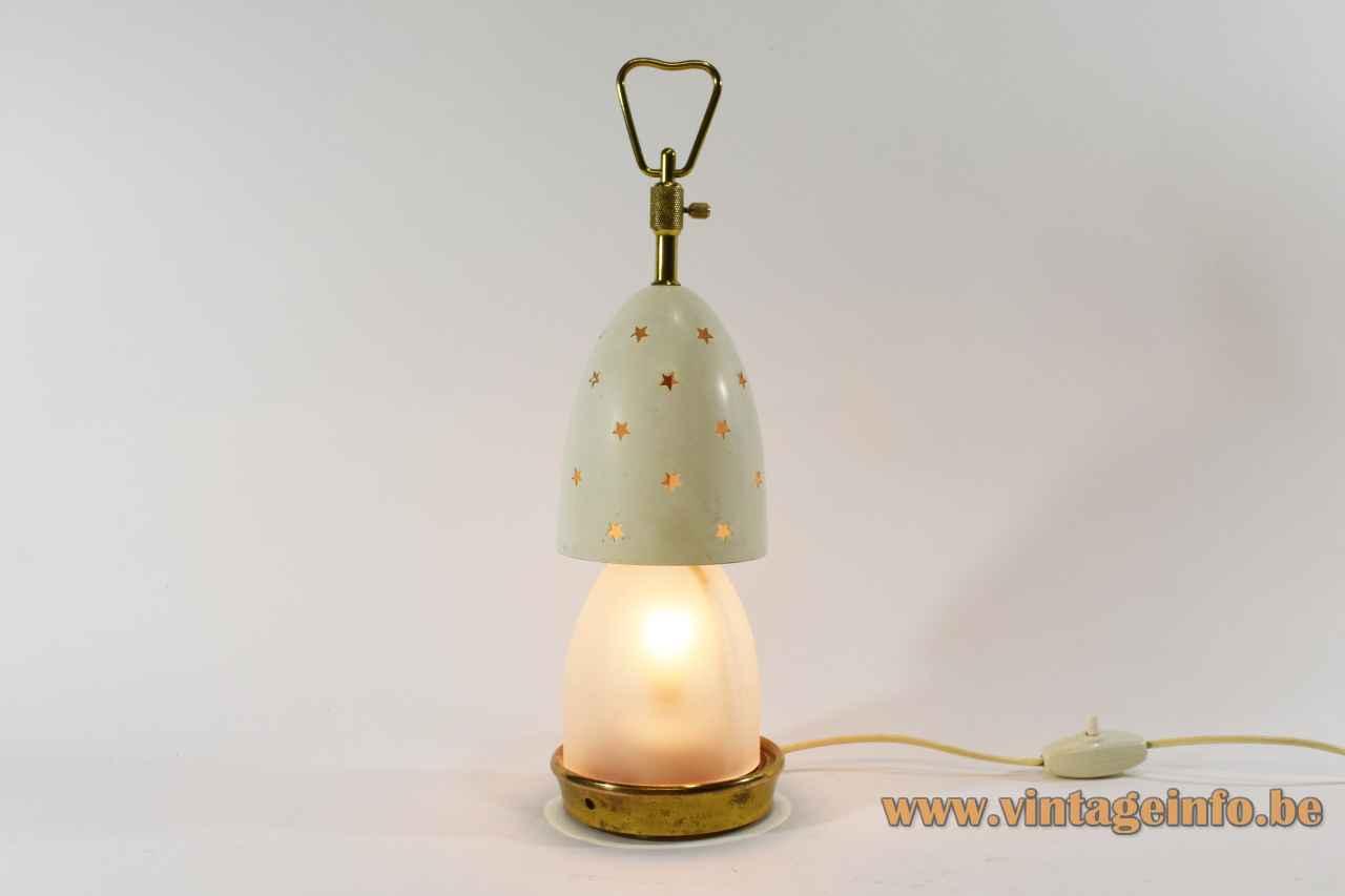 Arredoluce Stellina table lamp round brass base adjustable conical stars lampshade design: Angelo Lelii 1950s Italy