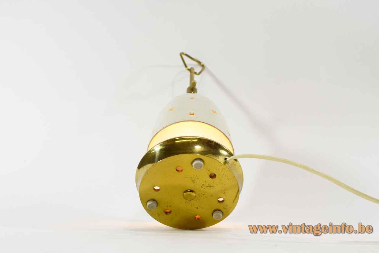 Arredoluce Stellina table lamp round brass base adjustable conical stars lampshade design: Angelo Lelii bottom view