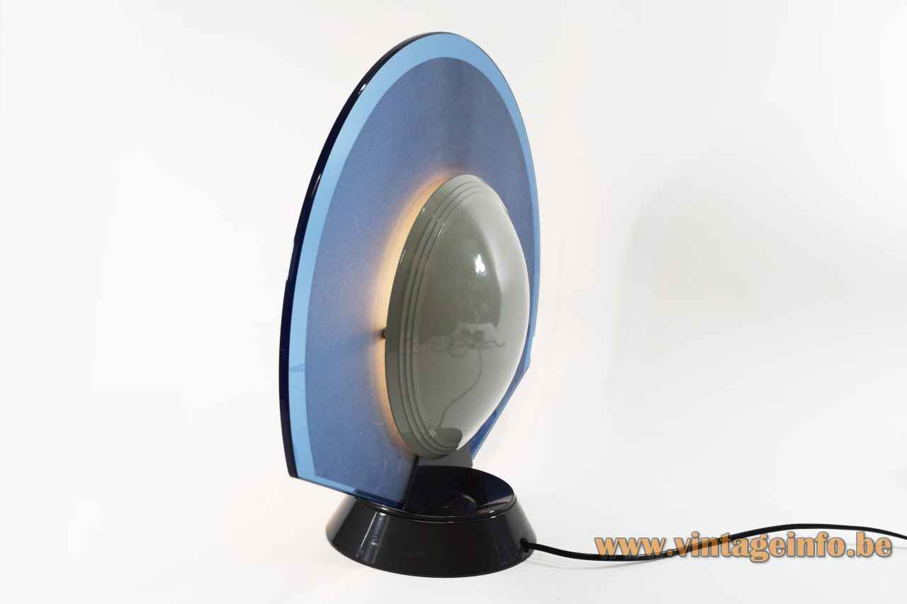 Arteluce Tikal table lamp round conical base glass disc lampshade acrylic diffuser design: Ramella 1980s Italy
