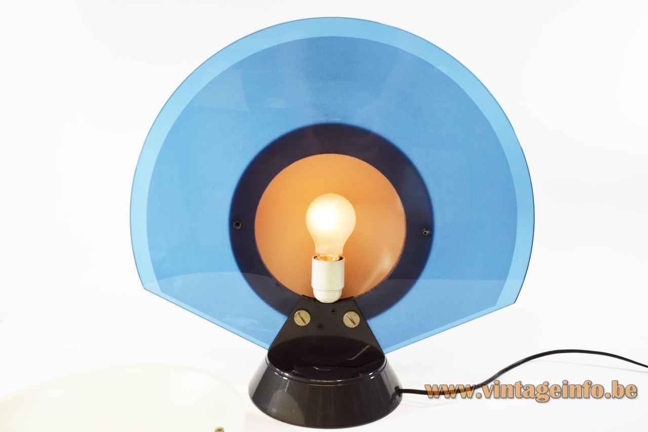 Arteluce Tikal table lamp round conical base blue glass disc lampshade inside view design: Ramella 1980s