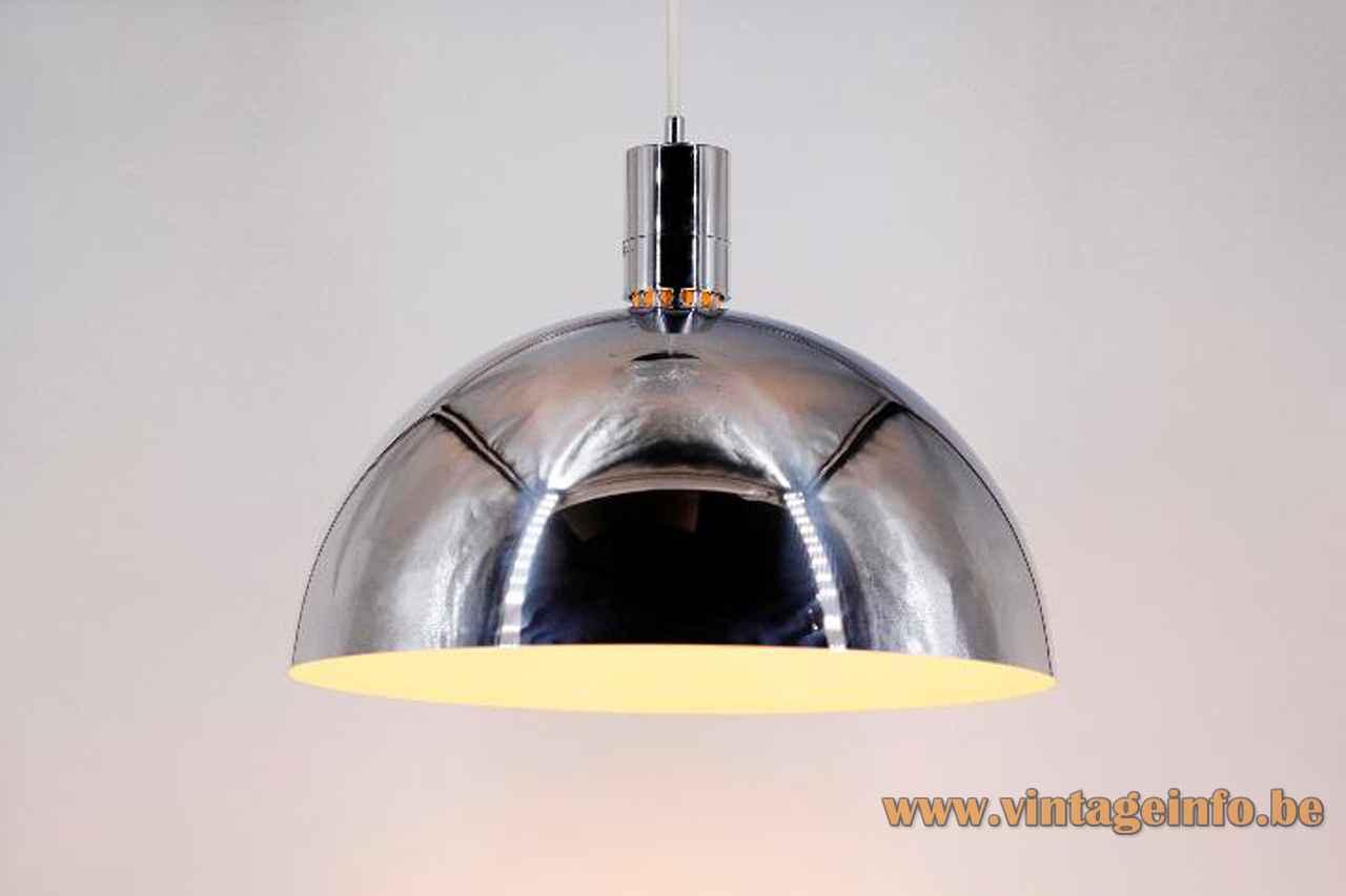 Franco Albini Sirrah pendant lamp chrome mushroom lampshade 1969 design model AM/AS 1960s 1970s Italy