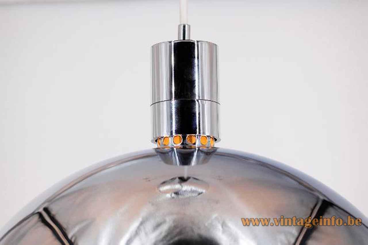 Franco Albini Sirrah pendant lamp chrome mushroom lampshade 1969 design model AM/AS 1960s 1970s top view
