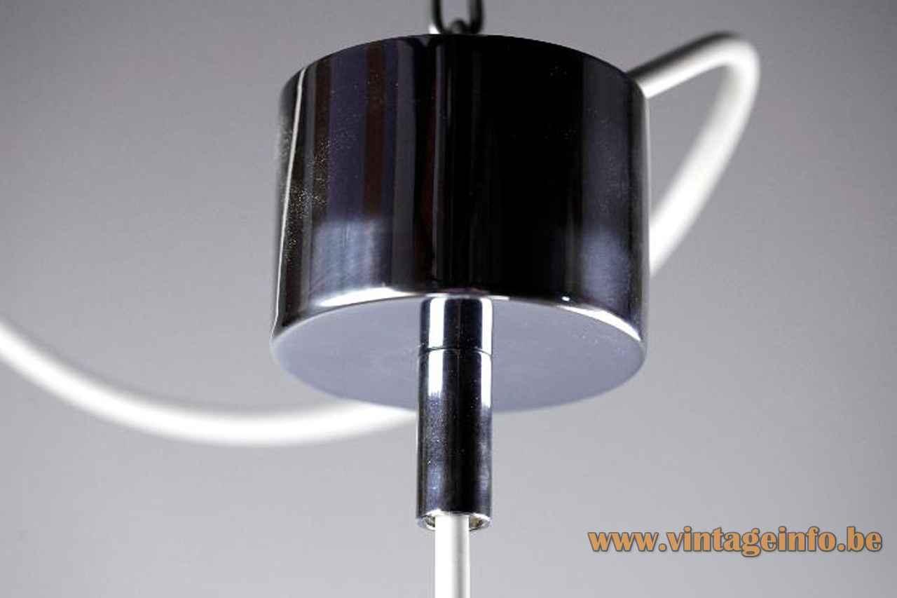 Franco Albini Sirrah pendant lamp chrome mushroom lampshade 1969 design model AM/AS 1960s 1970s Italy canopy