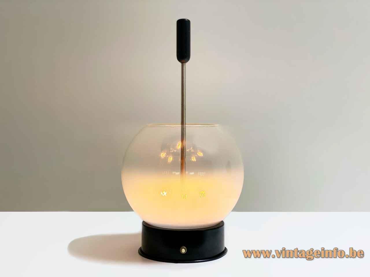 Gino Sarfatti Arteluce 593 table lamp round black metal base misty globe glass lampshade 1960s Italy