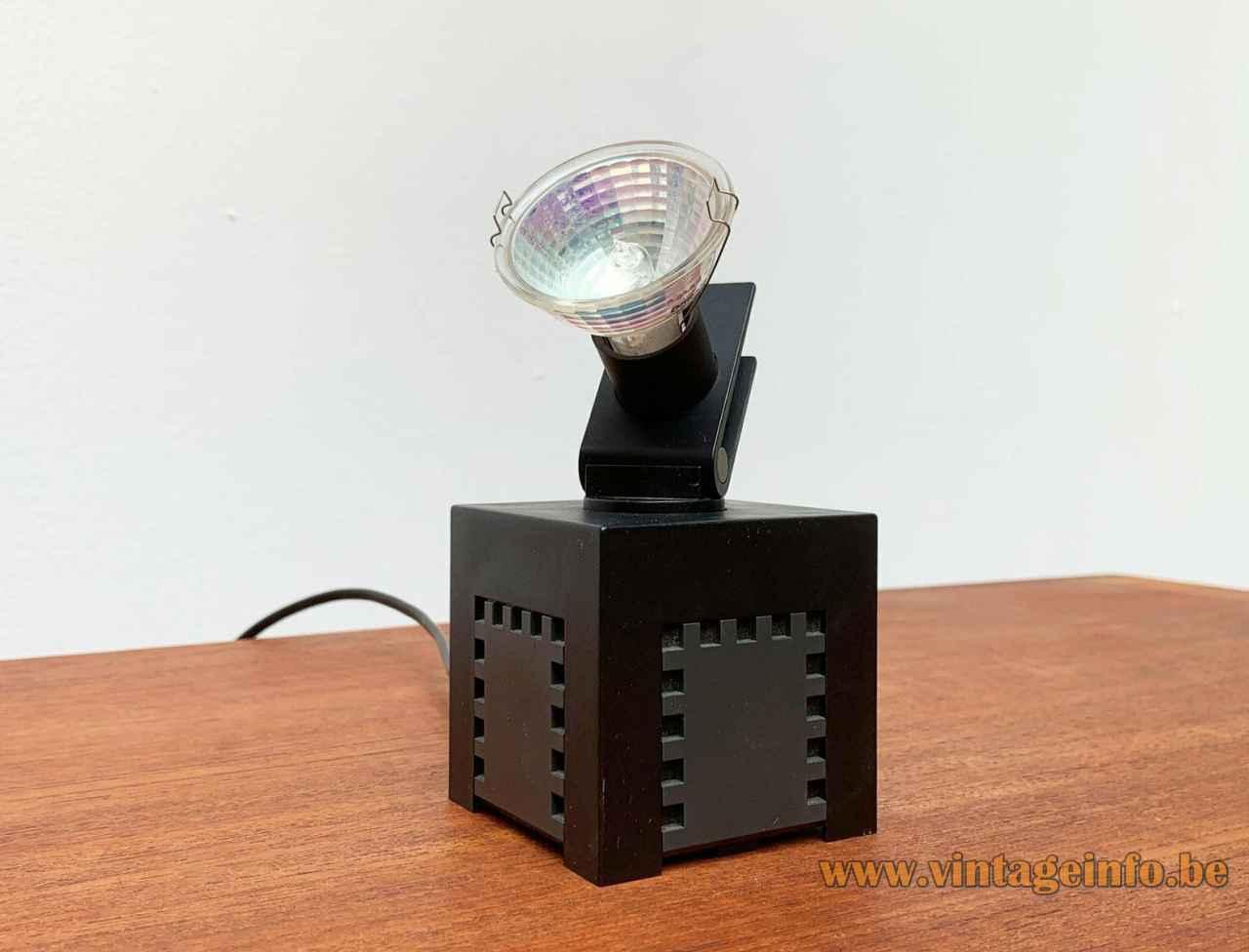 Osram 42311 cube spotlight square black plastic base adjustable halogen dichroic lampshade 1970s Germany