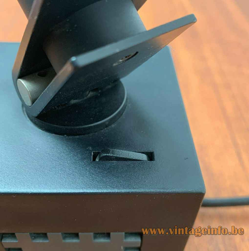Osram 42311 cube spotlight square black plastic base built-in switch 1970s Germany