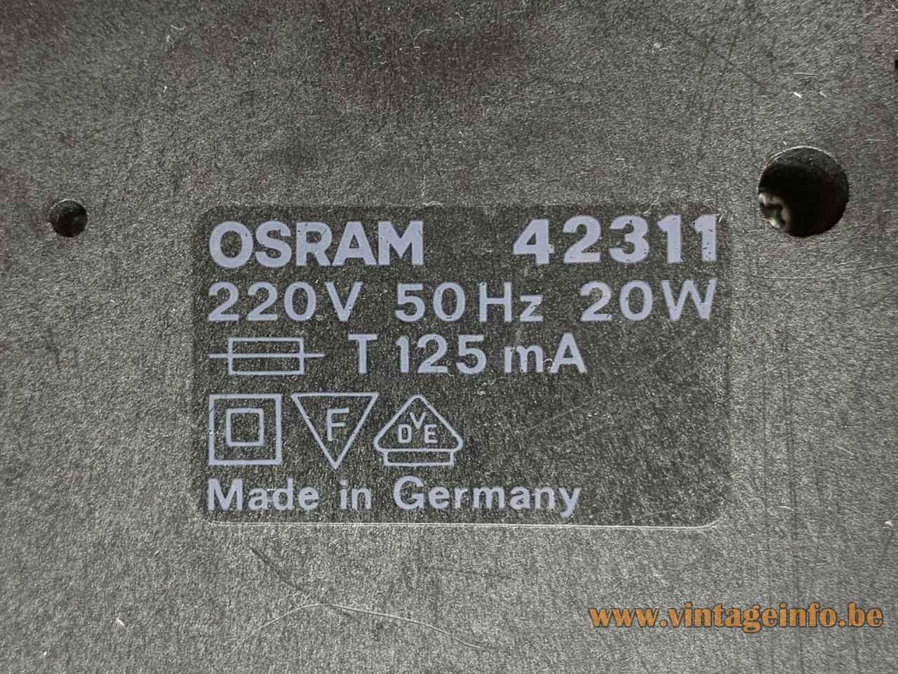 Osram 42311 cube spotlight square black plastic base bottom label 1970s Germany 220 volt 20 watt