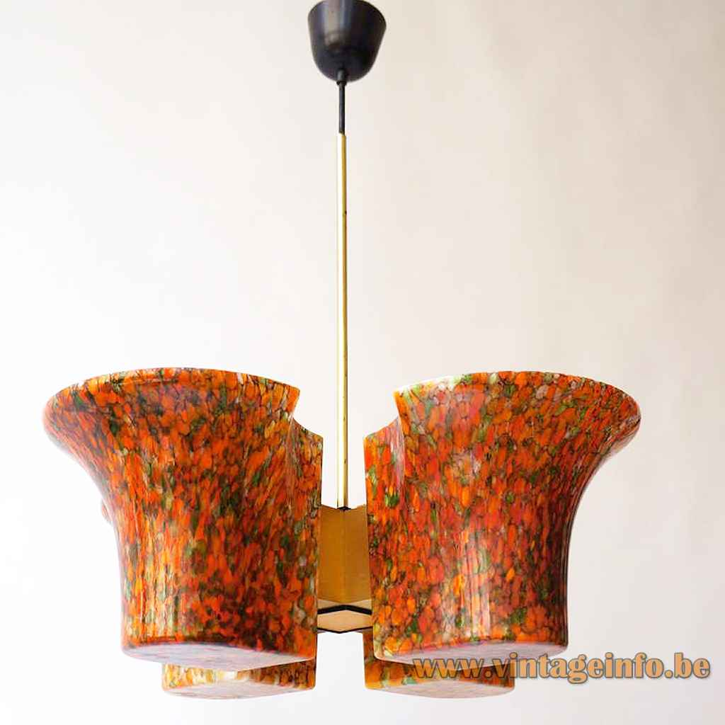 Peill + Putzler mottled glass chandelier 4 crosswise brown-yellow-orange chalices lampshades brass rod 1970s 1980s Germany