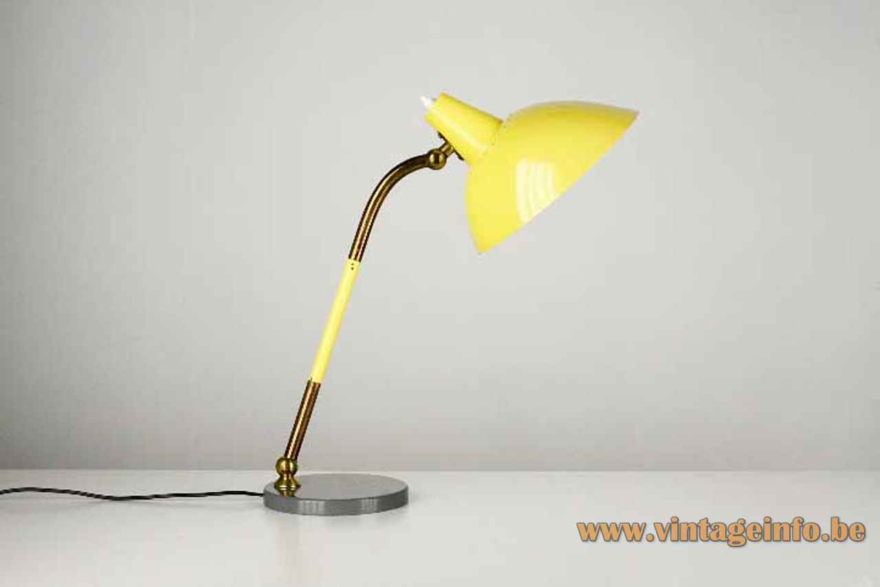 Yellow Stilnovo desk lamp round gray base adjustable brass rod conical lampshade 1950s 1960s Italy
