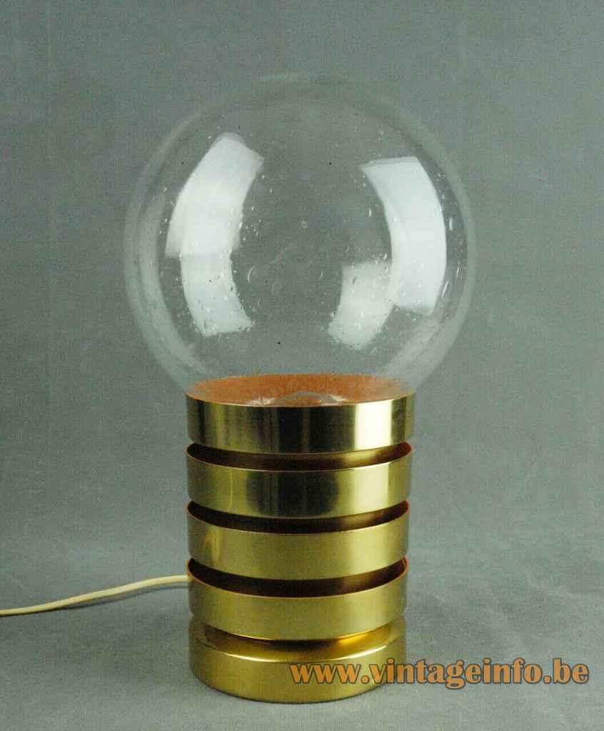 Fåglavik globe table lamp brass rings base clear glass sphere lampshade 1960s 1970s Sweden E27 socket