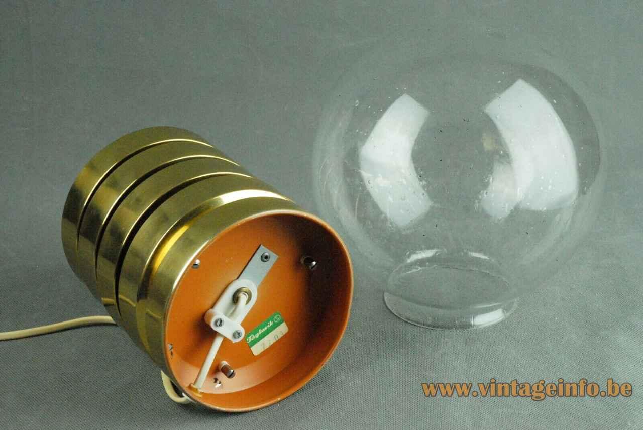 Fåglavik globe table lamp brass rings base clear glass sphere lampshade 1960s 1970s Sweden label & logo