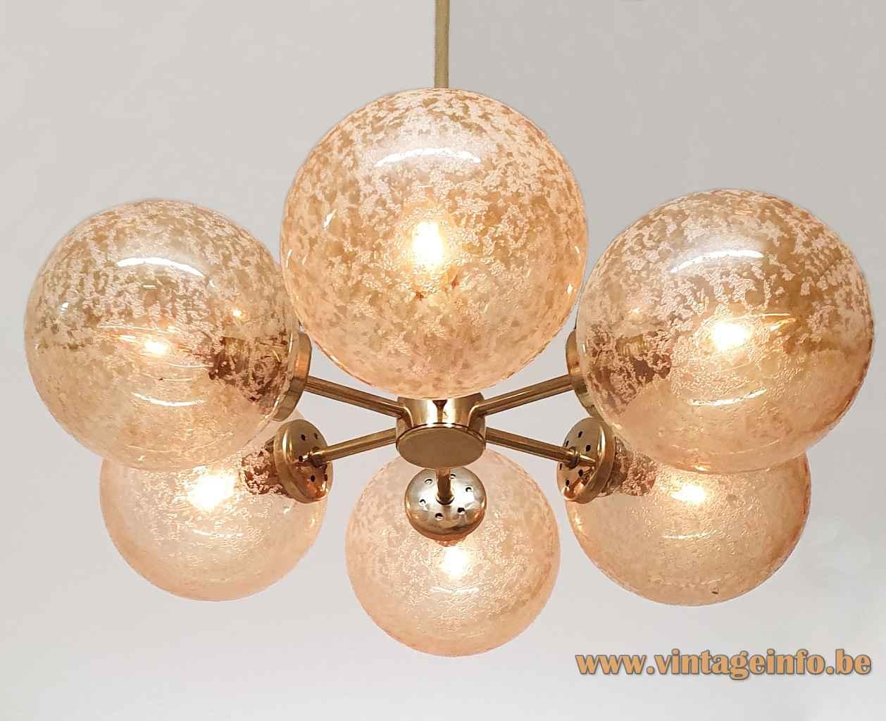 Kaiser Leuchten crackle globes chandelier round smoked glass lampshades brass sputnik rods 1970s 1980s Germany