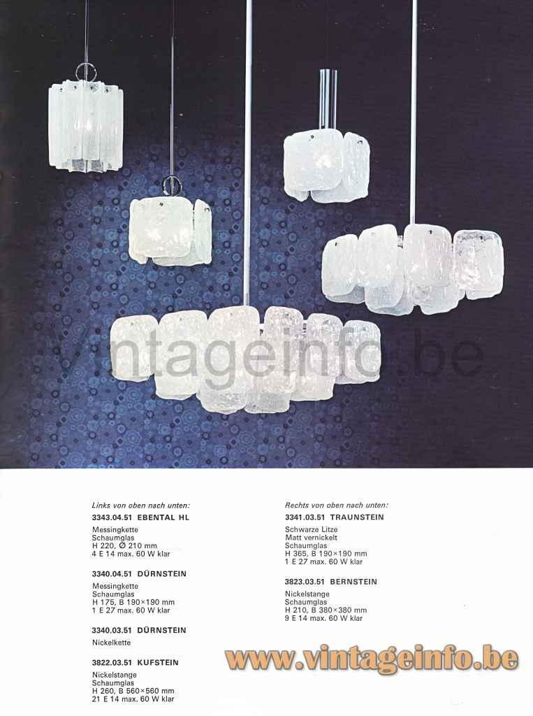 Kalmar Franken Bernstein Chandelier - 1974 Catalogue Picture
