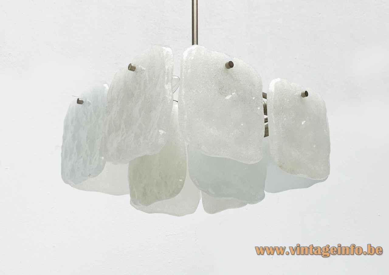 Kalmar Franken Bernstein chandelier square white glass discs lampshade chrome metal frame 1960s 1970s Vienna Austria