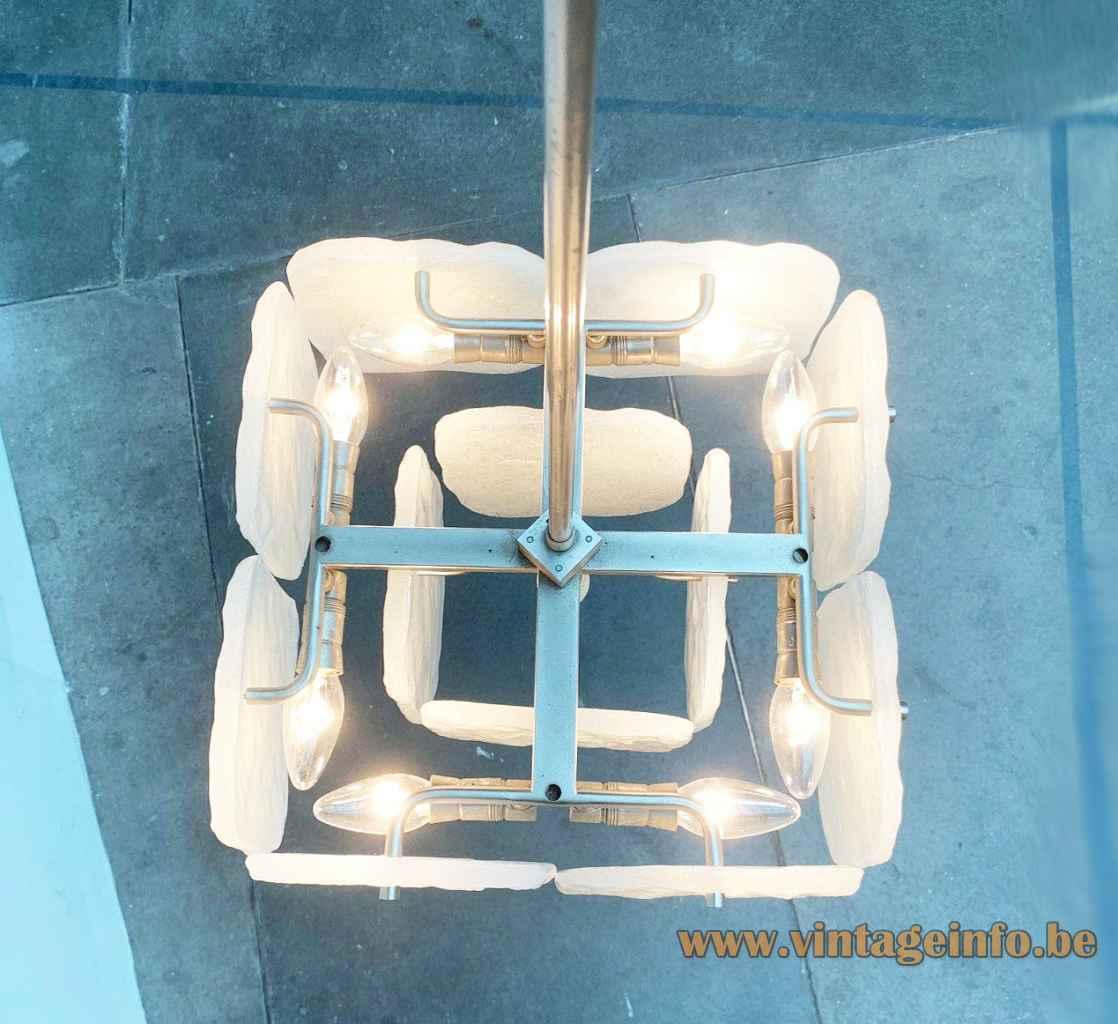 Kalmar Franken Bernstein chandelier square white glass discs lampshade chrome metal frame 1960s 1970s top view