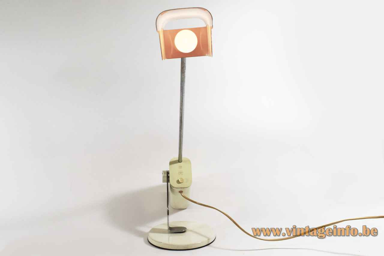 LUCI T442 desk lamp round white metal base adjustable chrome rod counterweight rectangular lampshade 1970s Italy