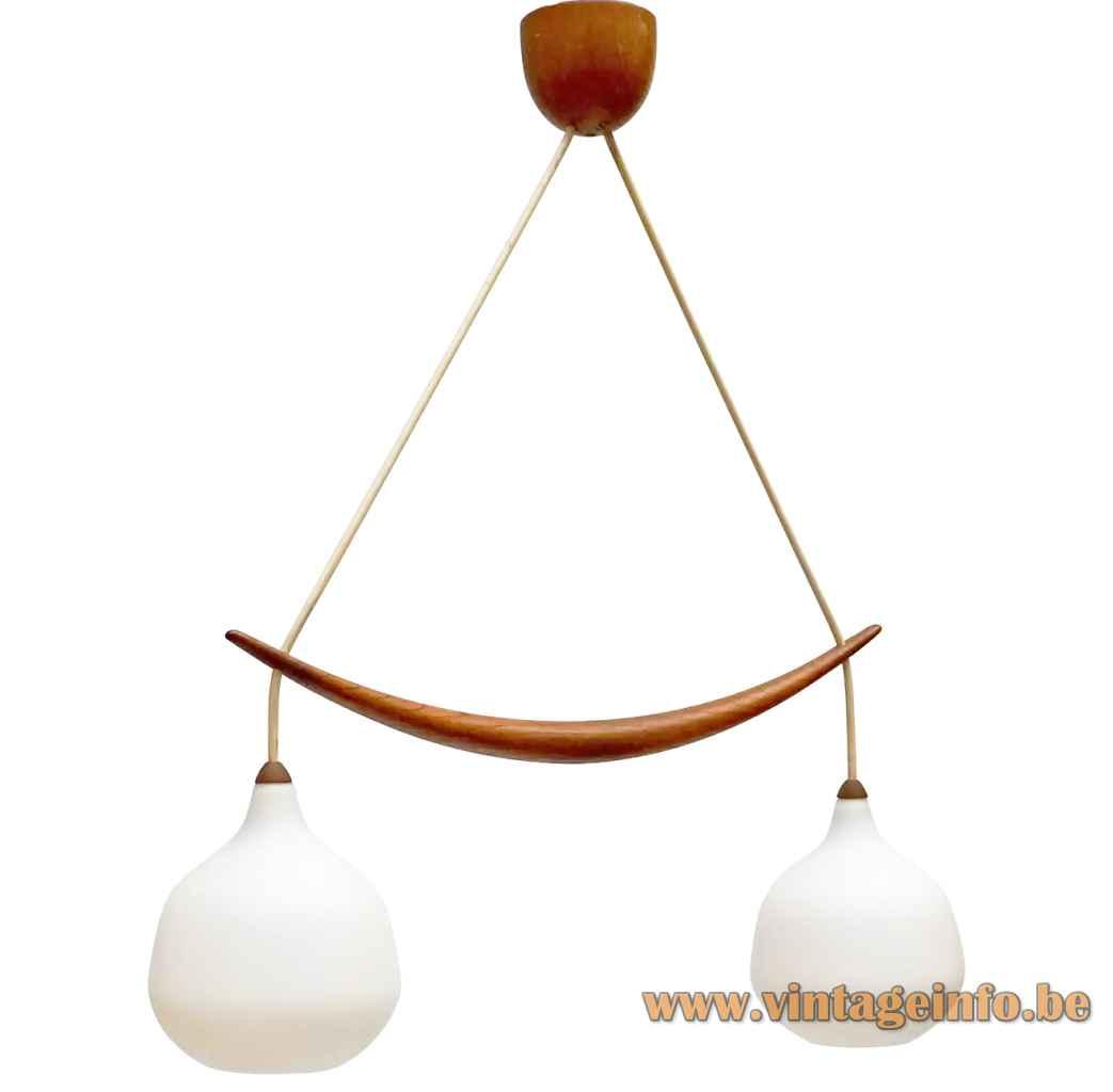 Luxus double pendant lamp 509 2 white opal glass globe sphere lampshades oak boomerang 1960s Sweden