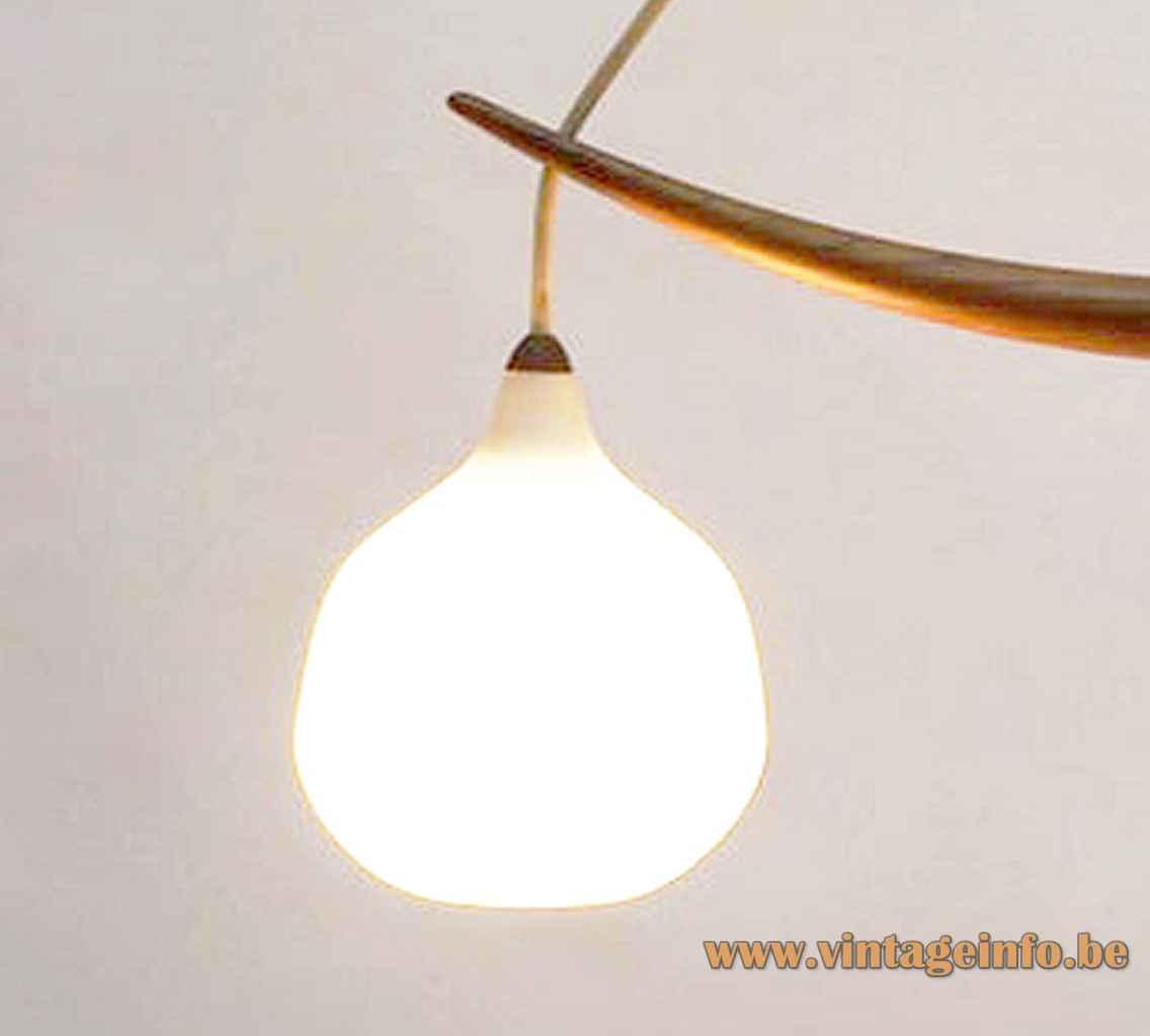 Luxus double pendant lamp 509 white opal glass globe lampshade oak boomerang 1960s Sweden