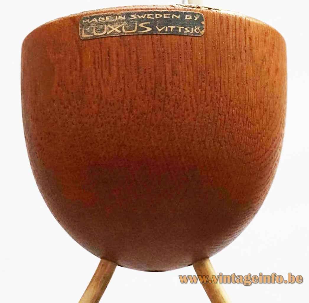 Luxus double pendant lamp 509 conical oak wood canopy + label 1960s Sweden