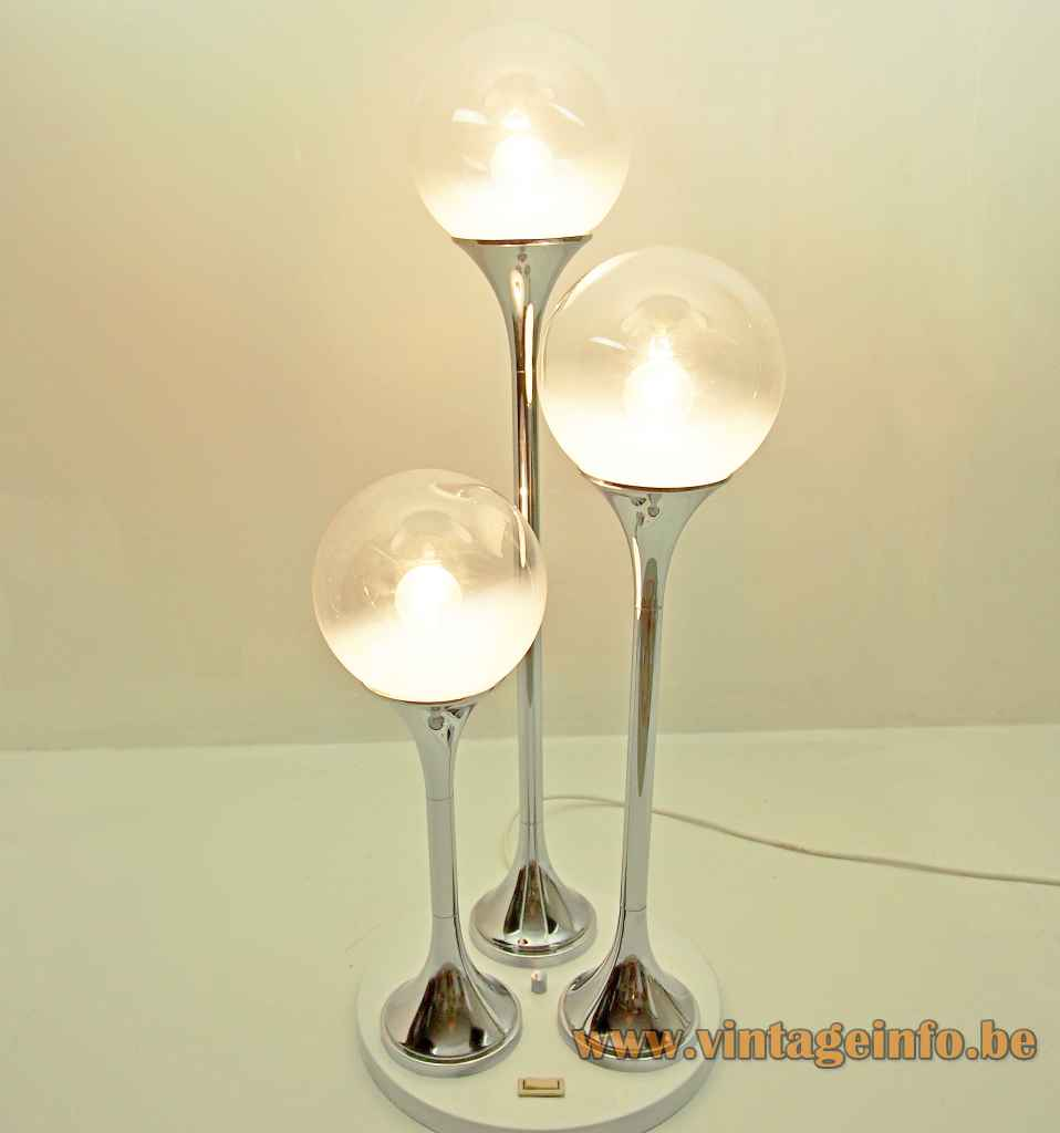 OMA globes floor lamp white base 3 chrome rods opal & clear glass lampshades 1960s 1970s Targetti