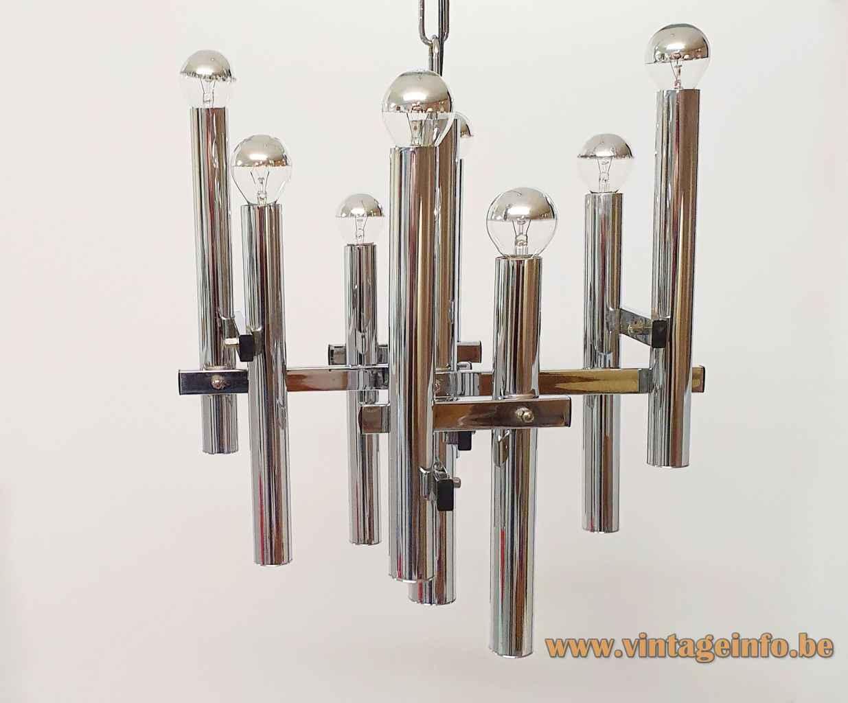 Sciolari style chrome chandelier metal rods, chain & tubes lampshade 8 E14 sockets 1970s Massive Belgium