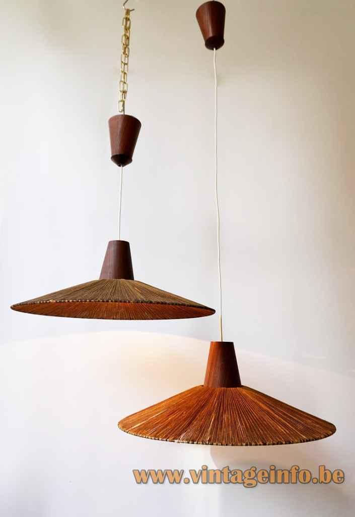 Temde sisal pendant lamp round conical cord braid lampshade teak wood cone 1950s 1960s Germany Switzerland