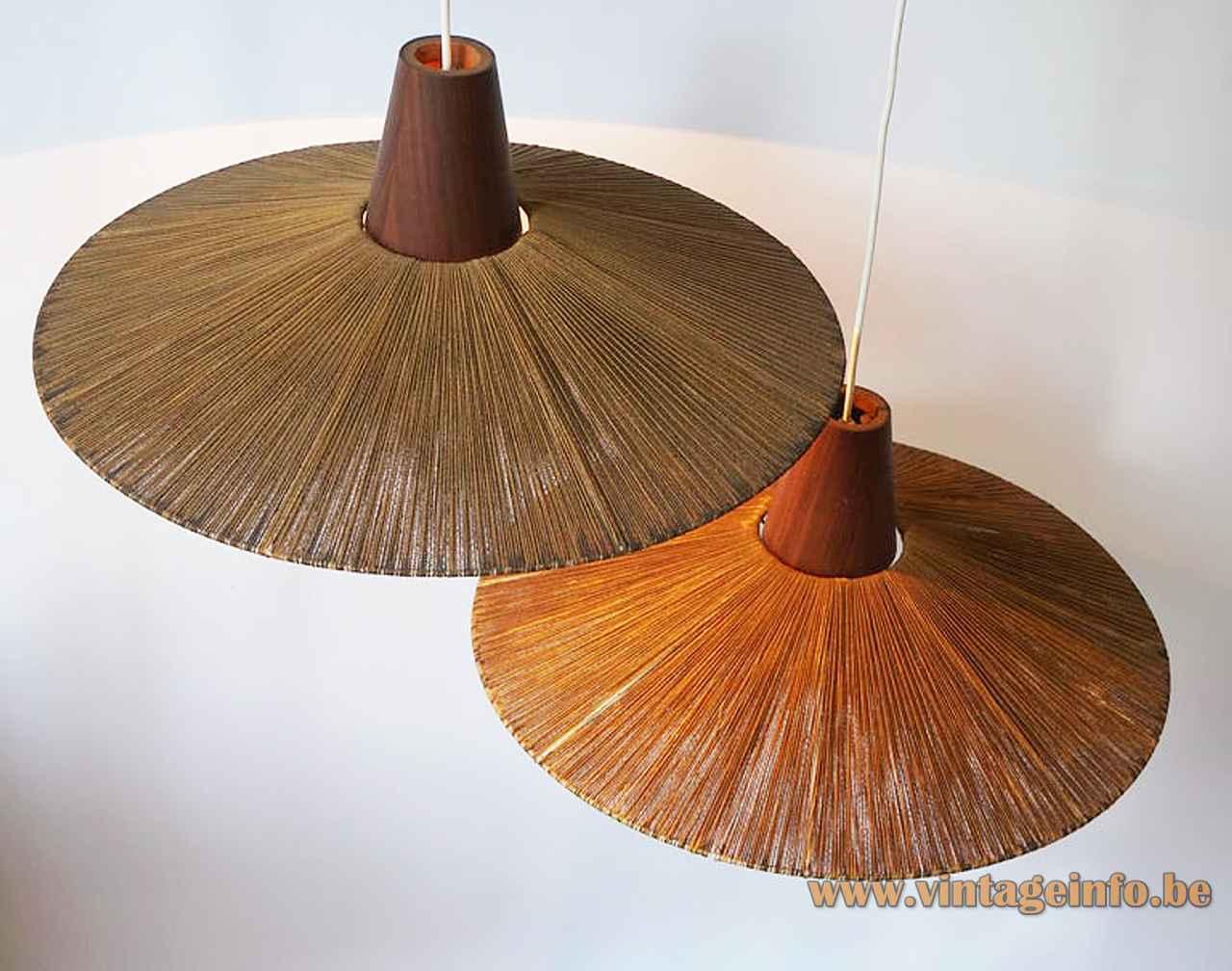 Temde sisal pendant lamp round conical cord braid lampshade teak wood cone 1950s 1960s top view