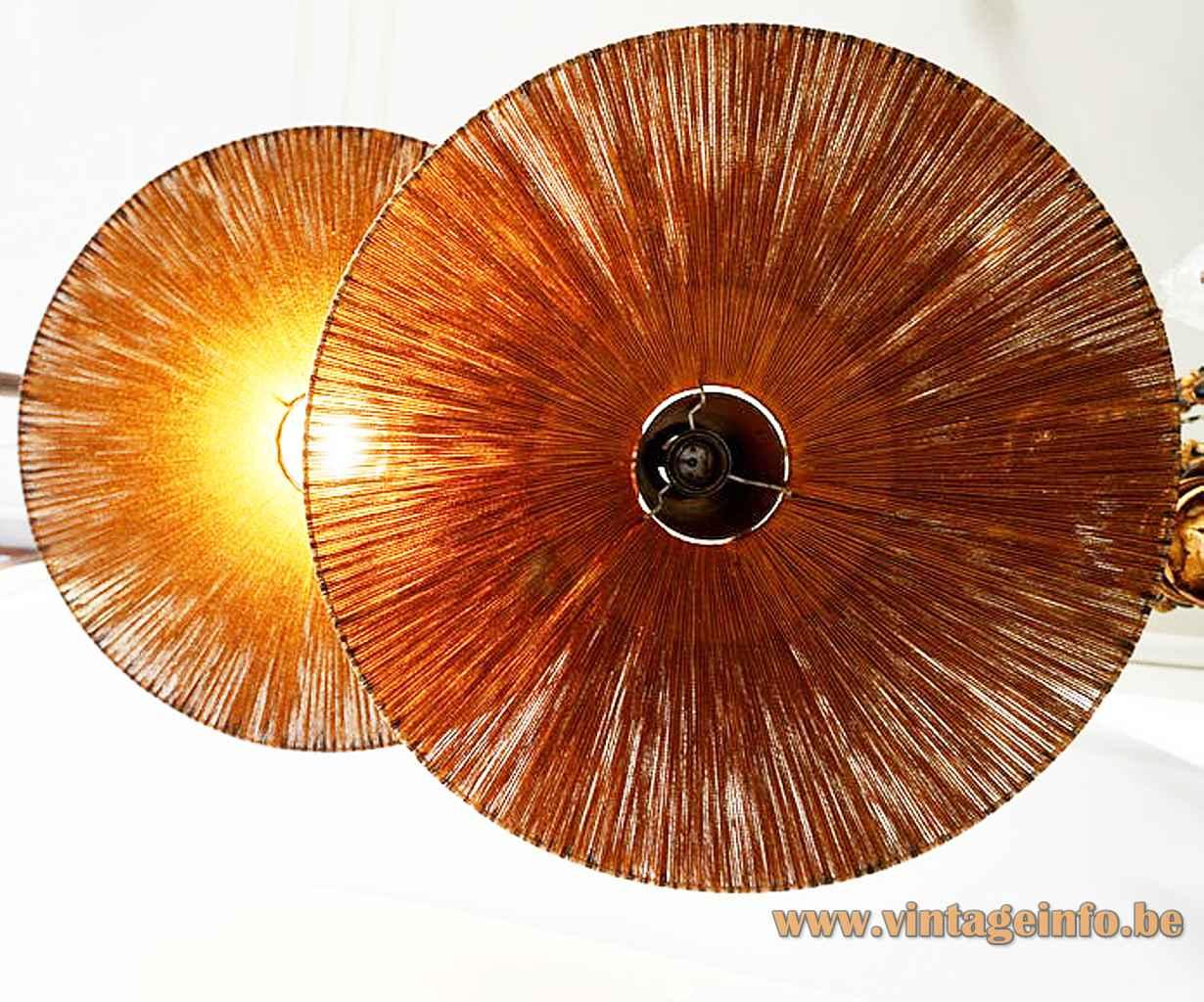 Temde sisal pendant lamp round conical cord braid lampshade teak wood cone 1950s 1960s inside view