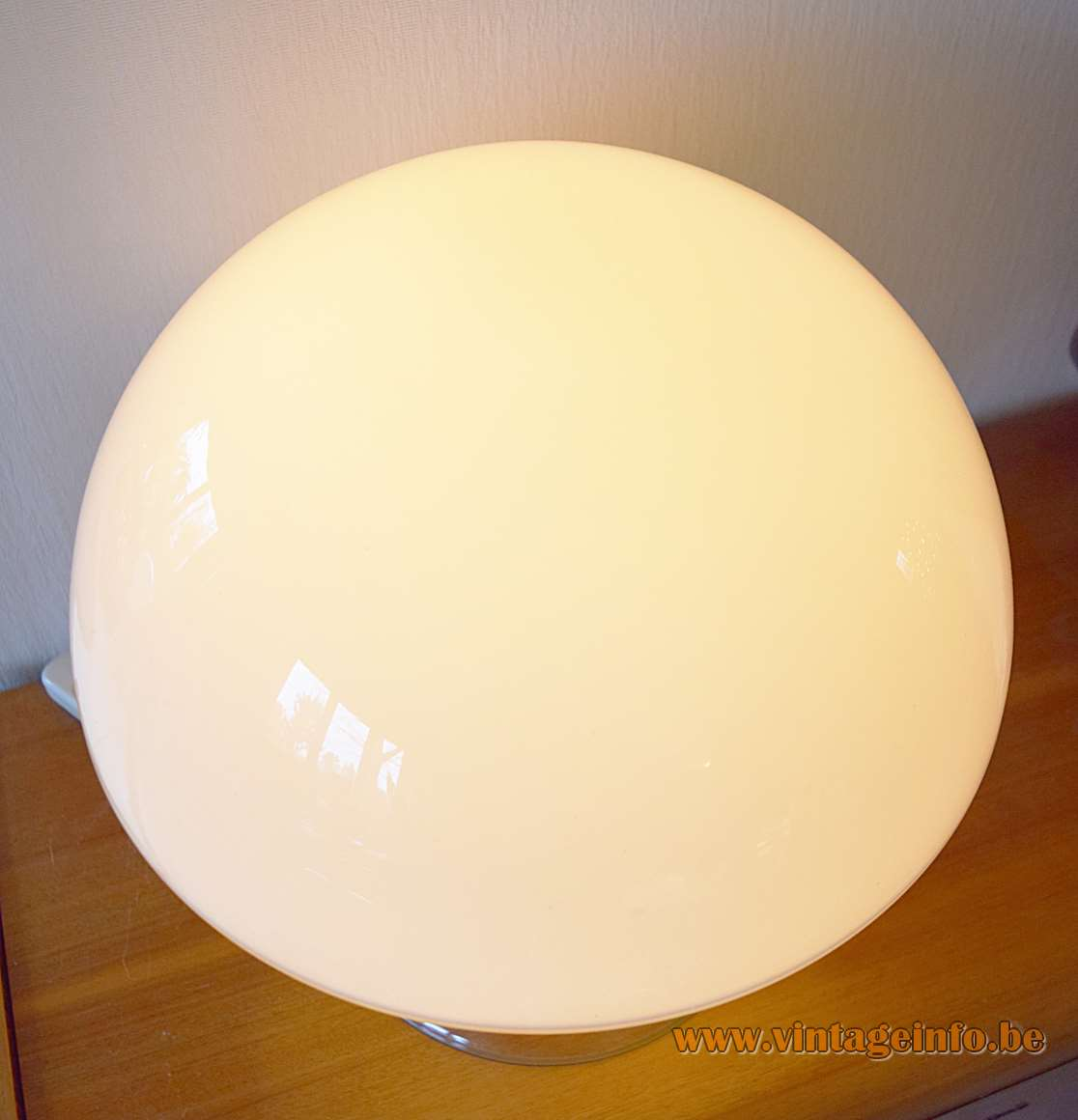Vistosi Cumulus table lamp clear & white mushroom Murano glass lampshade design: Enrico Capuzzo 1960s 1970s Italy