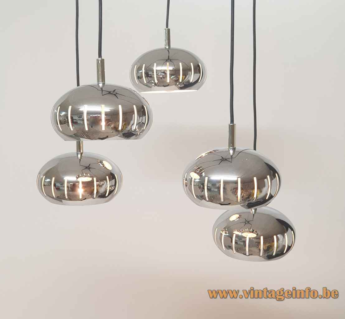 Chrome oval globes pendant chandelier 5 cascading metal lampshades perforated elongated slits 1960s 1970s Massive Belgium
