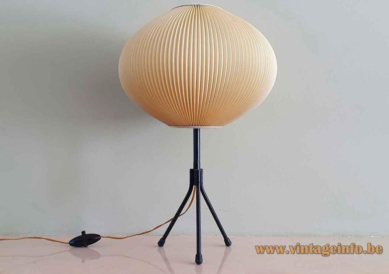 Pearlshade tripod table lamp black metal base ribbed celluloid globe lampshade 1960s France B22 socket