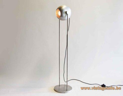 Split globe floor lamp round aluminium adjustable lampshade 2 chrome rods metal base 1960s Germany