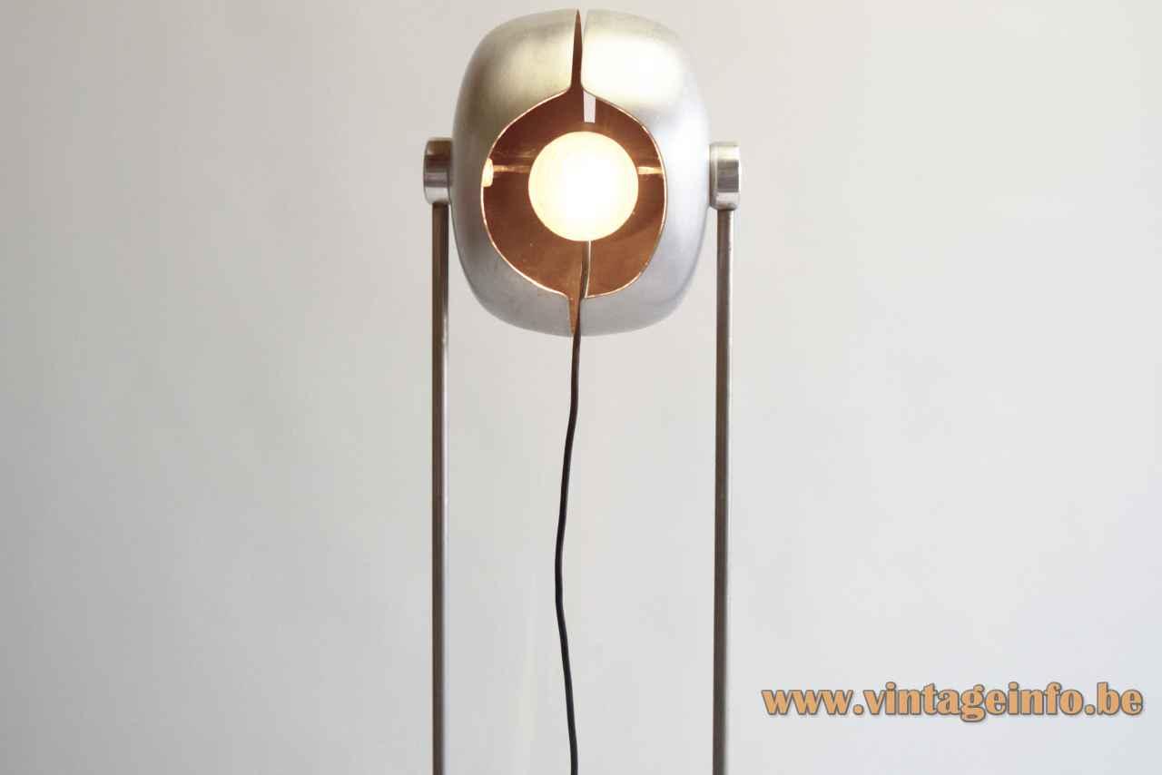 Split globe floor lamp round aluminium base cast iron counterweight 2 chrome rods 1960s Kontakt-Werkstätten Germany