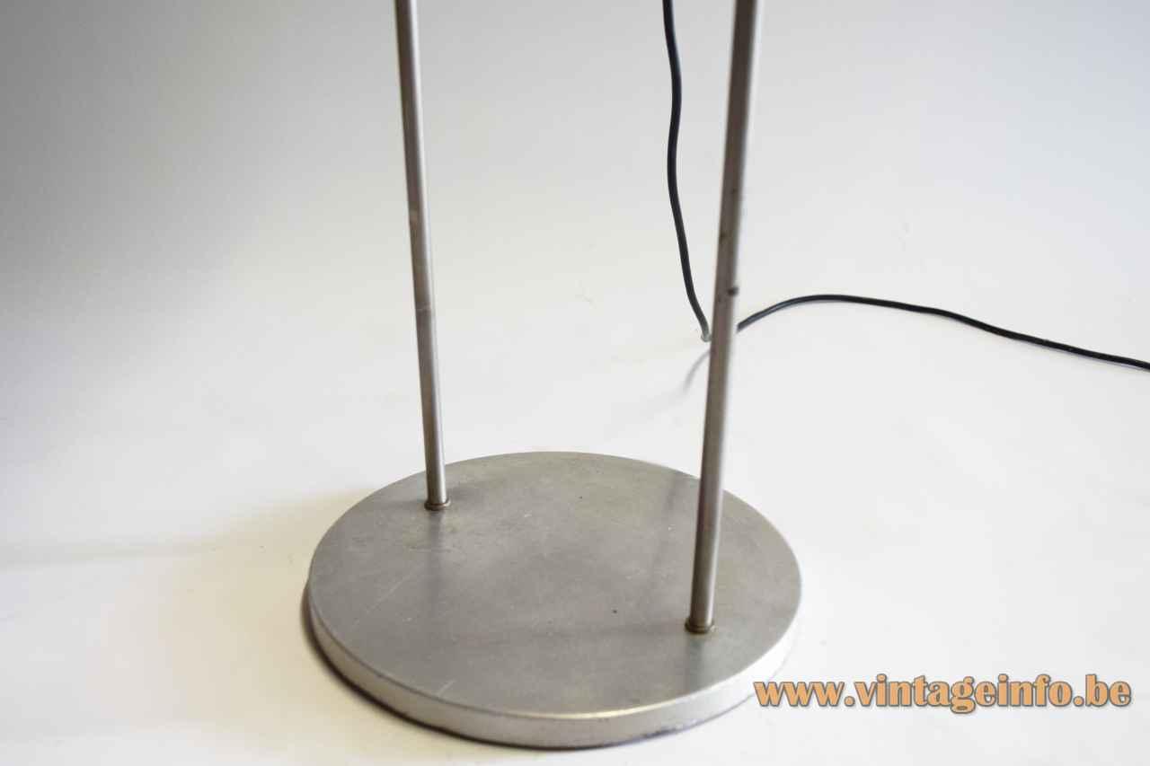 Split globe floor lamp round aluminium base cast iron counterweight 2 chrome rods 1960s Kontakt-Werkstätten Germany base