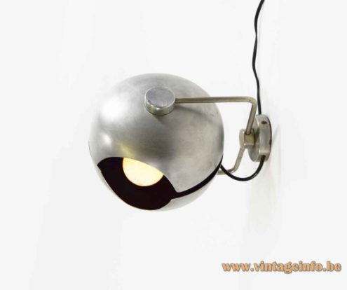 Split globe wall lamp round adjustable aluminium lampshade folded chrome rod 1960s Germany