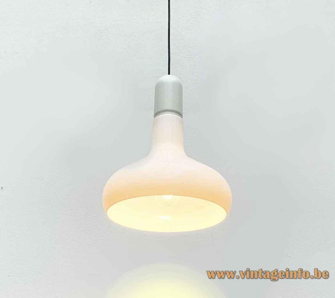 Staff pendant lamp 5485 round white acrylic lampshade aluminium tube lid 1970s Germany E27 socket