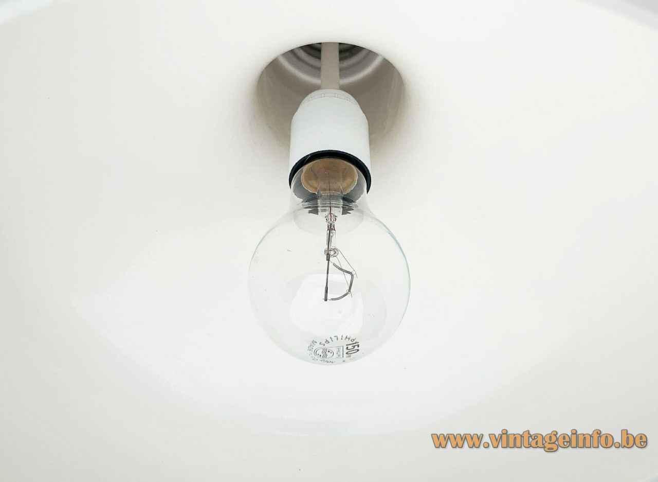 Staff pendant lamp 5485 round white acrylic lampshade aluminium tube lid 1970s Germany Bakelite E27 socket inside