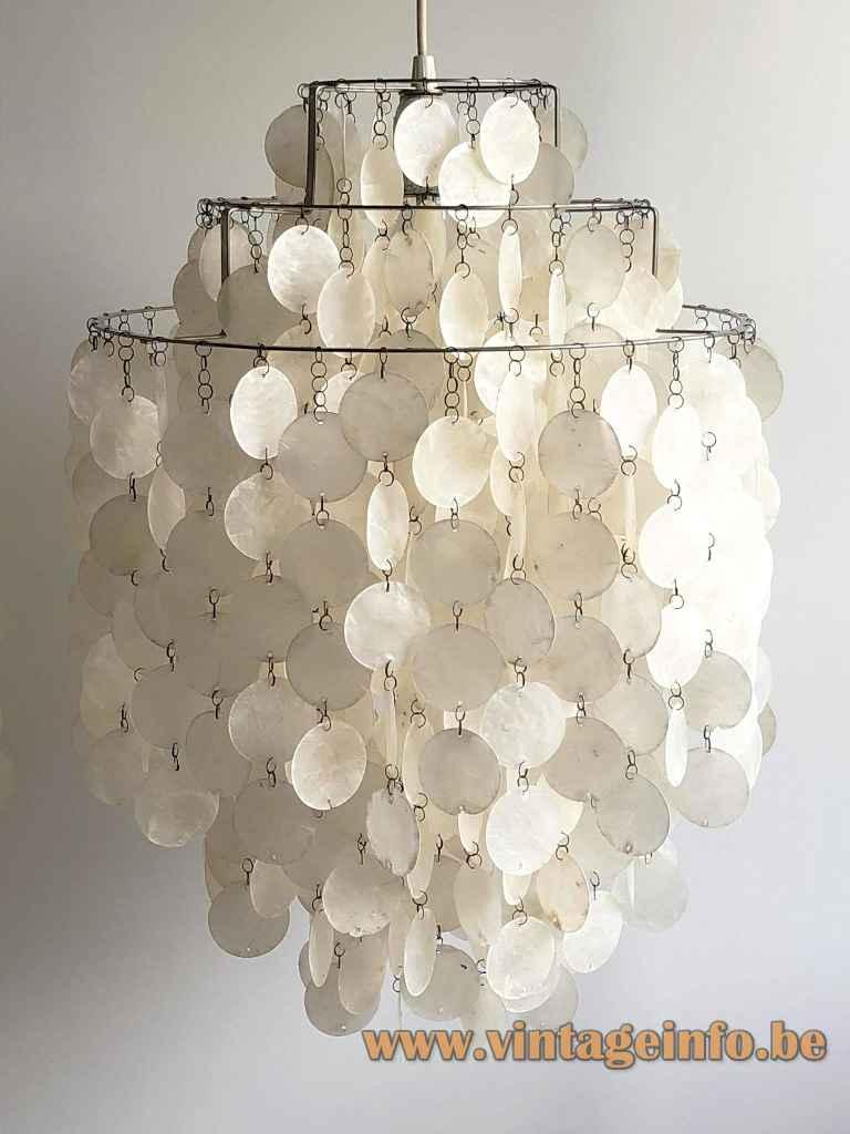 Verner Panton Fun pendant lamp chrome slats frame round capiz shells lampshade 1960s Luber Swisterland