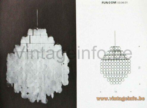 erner Panton Fun Pendant Lamp - FUN 0 DM - J. Lüber A.G., Basel, Switzerland - 1964 Catalogue Picture