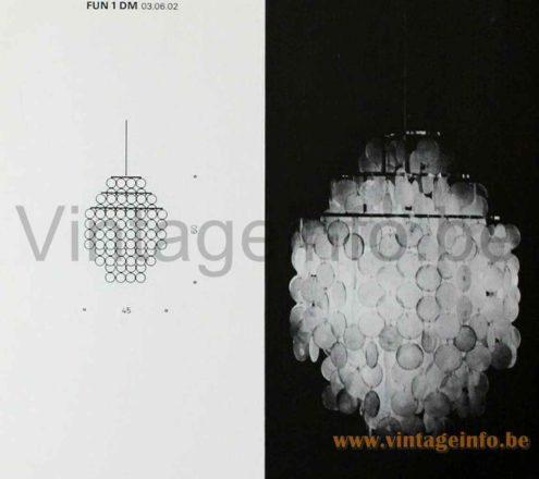 Verner Panton Fun Pendant Lamp - FUN 1 DM - J. Lüber A.G., Basel, Switzerland - 1964 Catalogue Picture