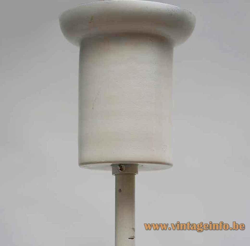 AV Mazzega 12 globes chandelier white tubular canopy ceiling cap 1960s 1970s Murano Italy