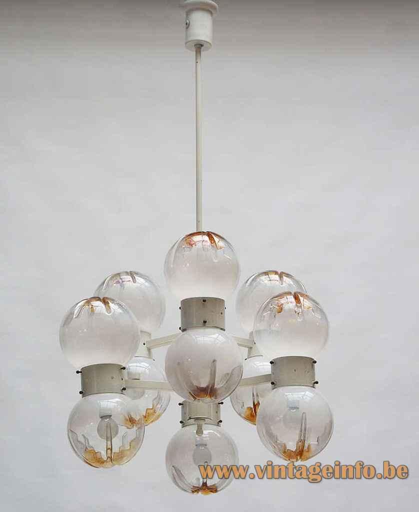 AV Mazzega 12 globes chandelier chrome lampshade white & orange glass spheres 1960s 1970s Murano Italy
