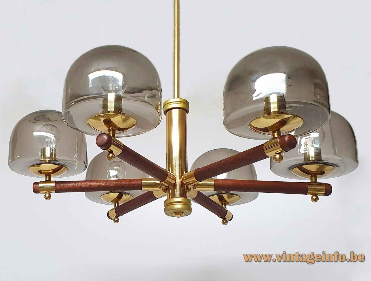 Berlin Leuchten smoked glass chandelier 6 globes lampshades brass & wood rods 1970s Germany E14 sockets