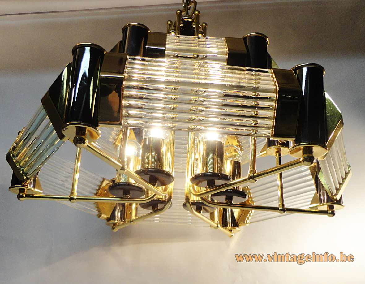 Crystal glass rods chandelier clear tubes lampshade gilded frame & chain 1970s 1980s Honsel Leuchten Germany